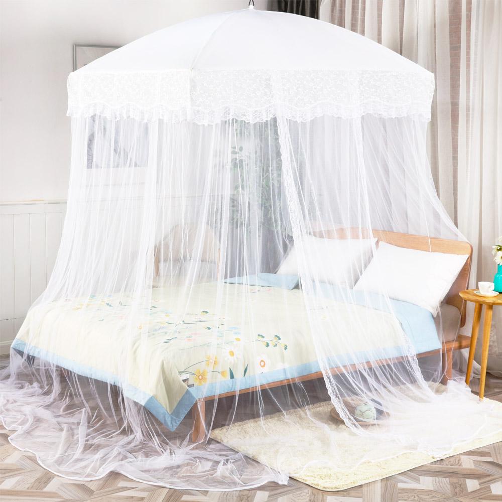 웨딩 사각 캐노피 침대 모기장 + 설치 부품, 화이트