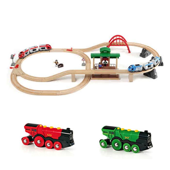 브리오 여행 기차 작동완구 + 전동기관차 2종 세트, 혼합색상