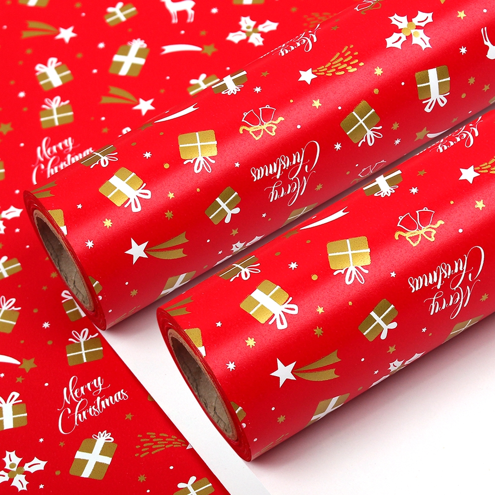 포포팬시 크리스마스 고급 양면 종이 롤 포장지, 레드, 2개