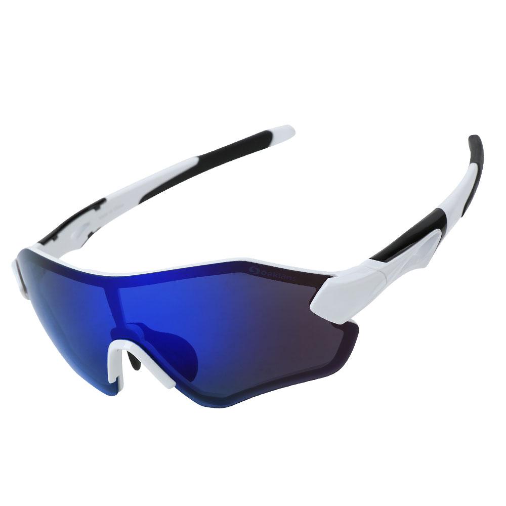 오클랜즈 변색 편광 스포츠 선글라스 QX30, 화이트프레임-블루밀러편광렌즈