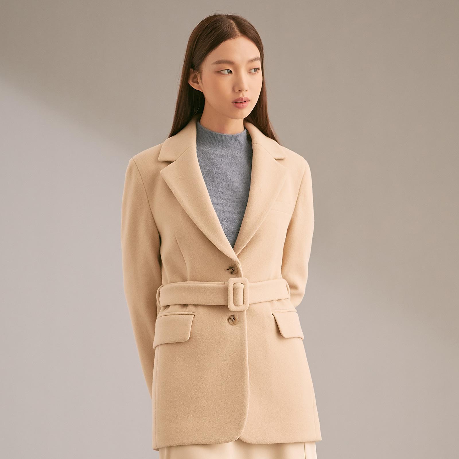 미쏘 여성용 일자핏 싱글 벨티드 자켓