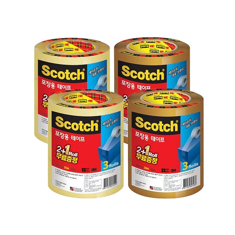 쓰리엠 스카치 포장용 테이프 3625V 2 + 1 48mm x 25m 2종 x 2p 세트, 투명, 갈색, 1세트