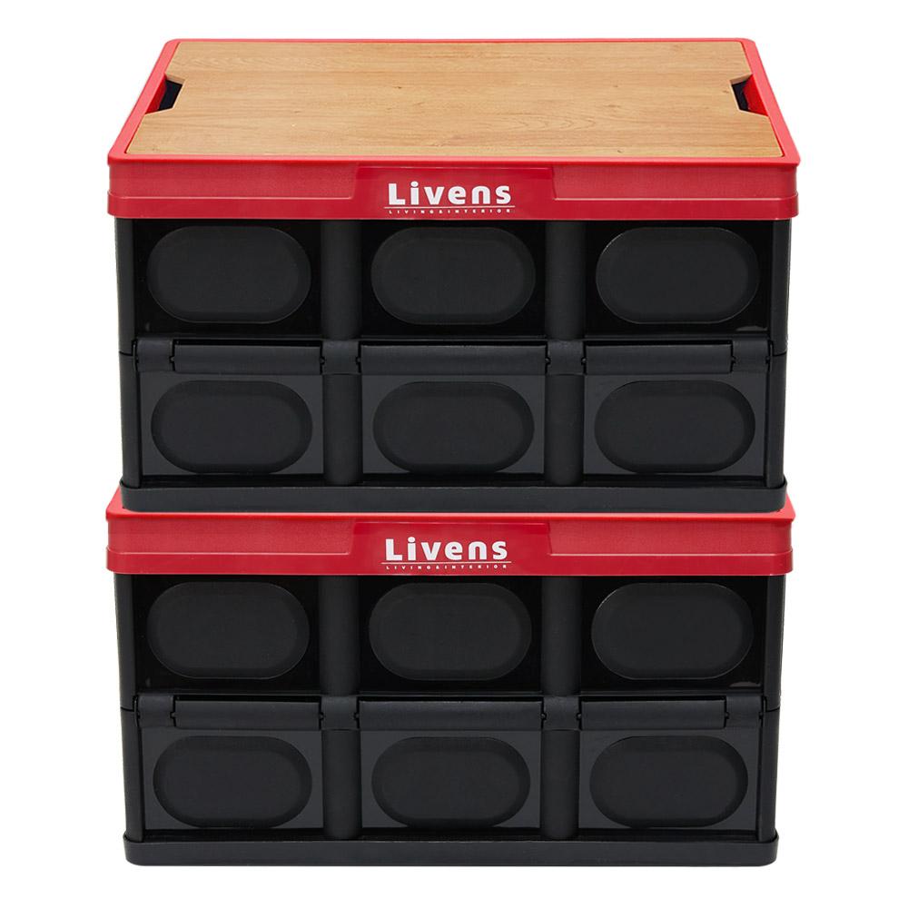 리벤스 멀티 폴딩 리빙박스 56L 대형 2p + 우드 상판 세트, 블랙, 우드색, 1세트