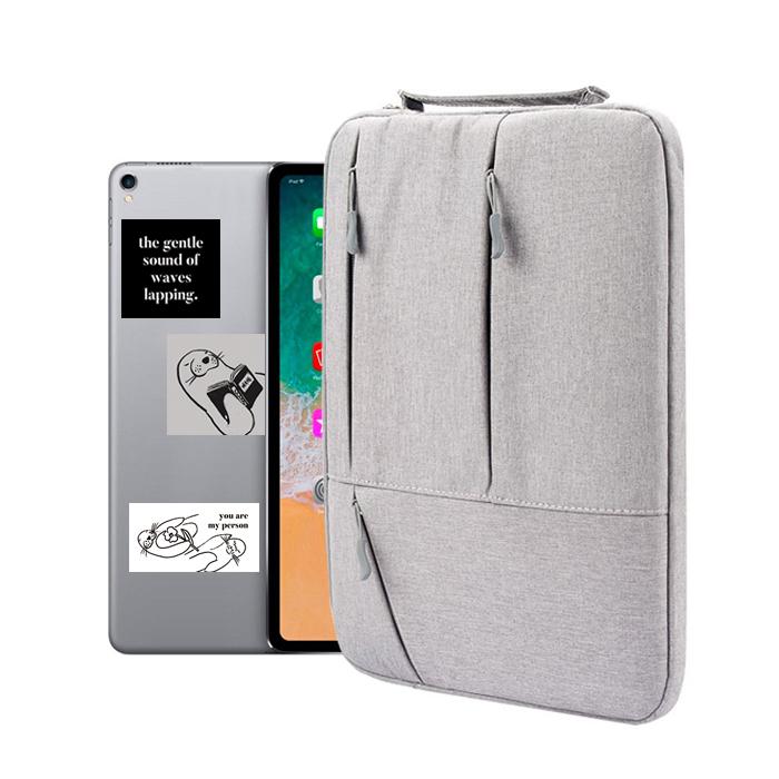 디스트 모노핸들 태블릿PC 파우치 + 리무버블 스티커 3종, 그레이-4-4395767246