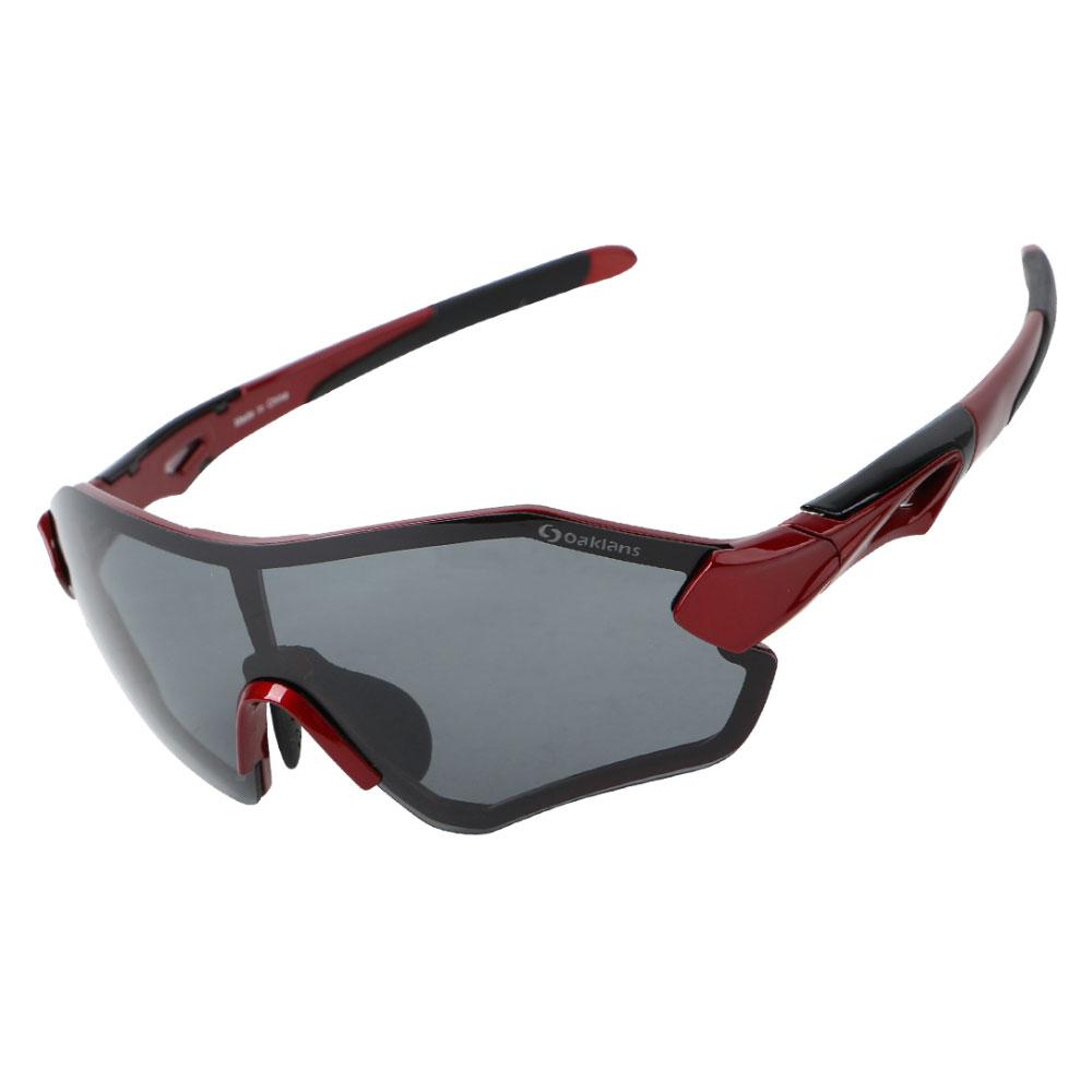 오클랜즈 변색 편광 스포츠 선글라스 QX30, 와인프레임-블랙편광렌즈