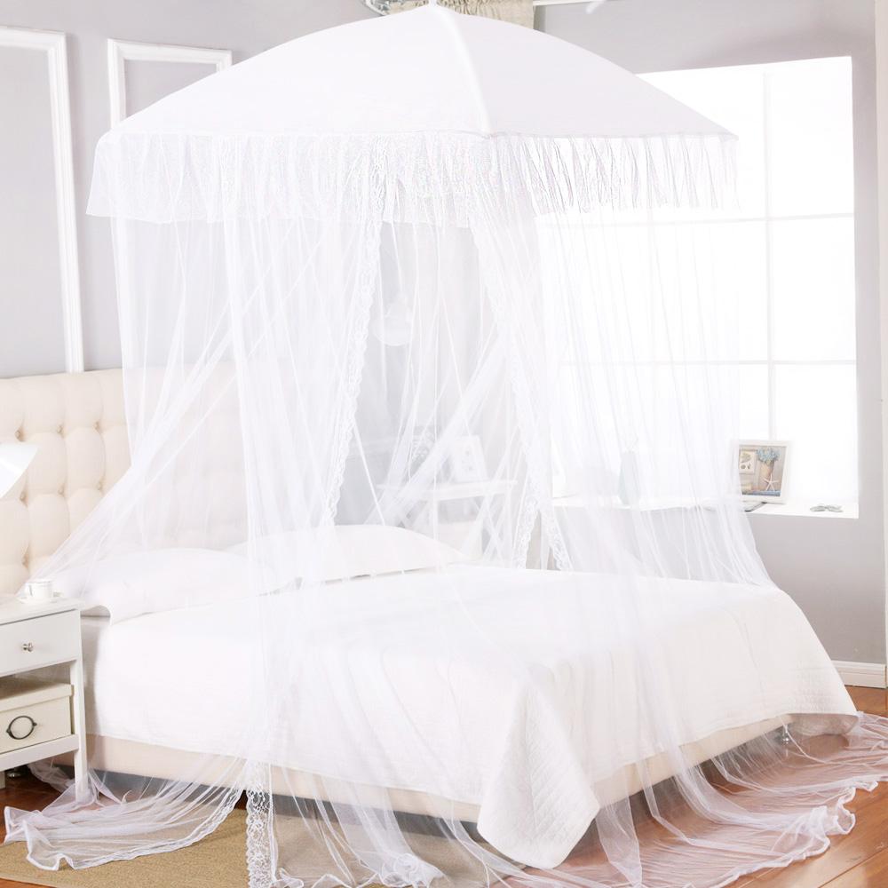 투도어 사각 캐노피 침대 모기장 + 설치 부품, 화이트
