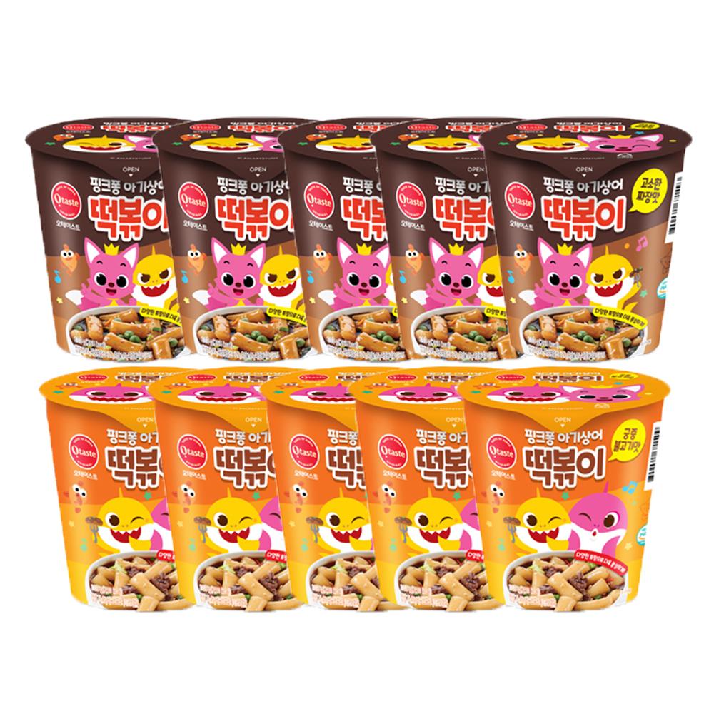 핑크퐁 아기상어 떡볶이 고소한짜장맛 + 핑크퐁 아기상어 떡볶이 궁중불고기맛, 1세트