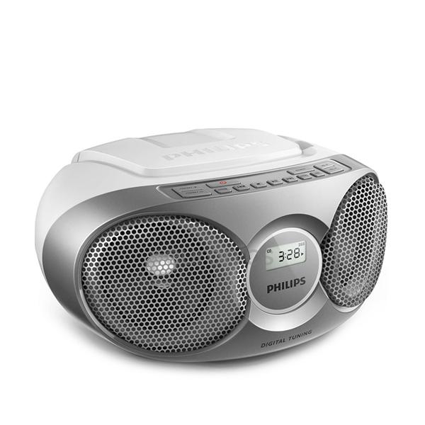 필립스 라디오 CD 플레이어 카세트, 화이트 + 실버, AZ215