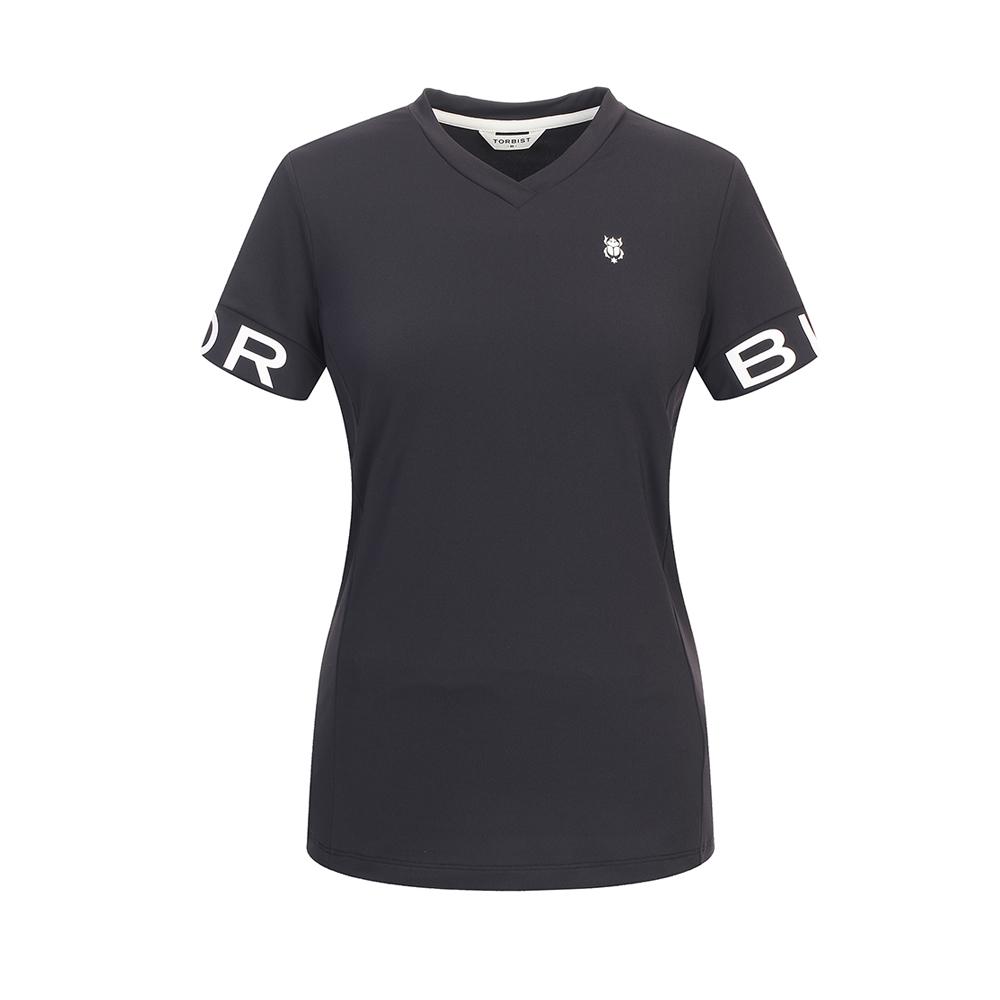 톨비스트 여성용 소매 로고 브이넥 티셔츠 GABU3-WKE550