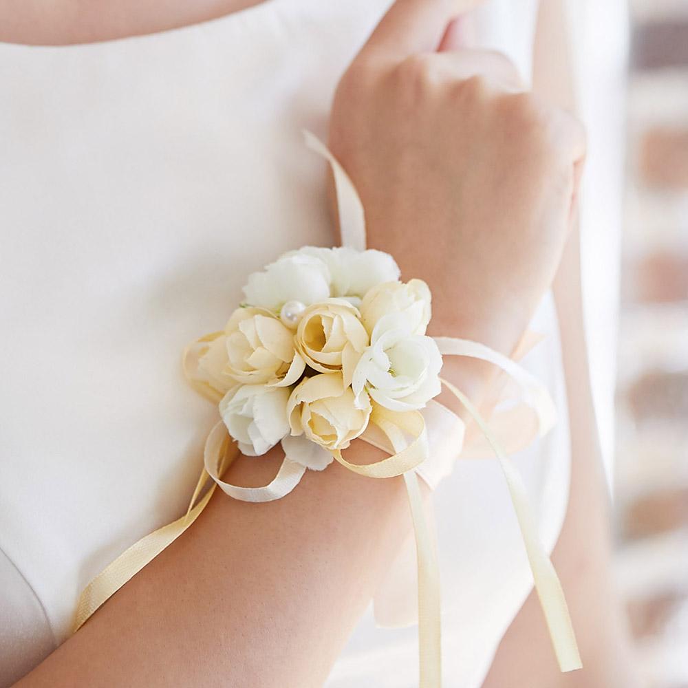 브라이덜샤워 조화 장미 꽃팔찌 셀프 웨딩 촬영 소품 미니로즈 꽃팔찌 2p, 피치