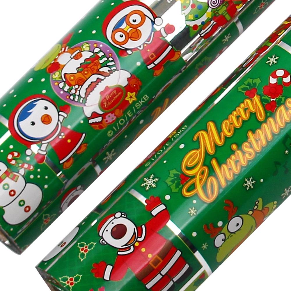 포포팬시 뽀로로 크리스마스 비닐 증착 롤 포장지 18m, 녹색, 2개