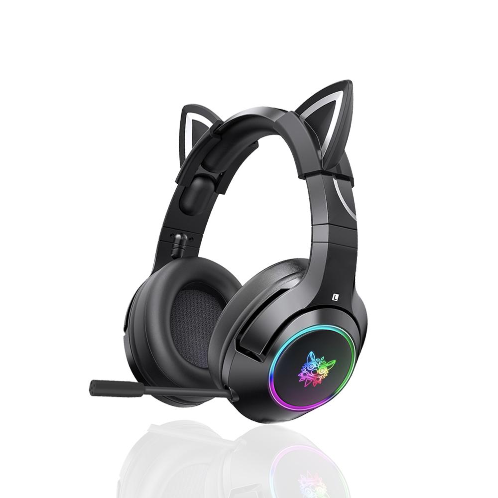 펭카 고양이 귀 7.1 채널 RGB LED 라이팅 노이즈 캔슬링 마이크 게이밍 헤드셋, Black