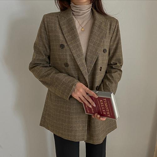 여성용 클래식 글랜체크 자켓