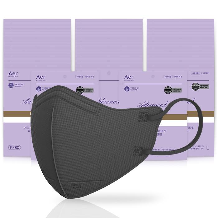 [생활용품] 아에르 어드밴스드 라이트 보건용 마스크 블랙 M KF80, 1개입, 50개 - 랭킹80위 (41230원)