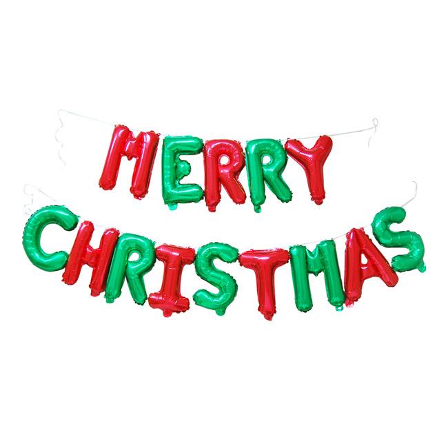 와우파티코리아 메리 크리스마스 은박풍선 세트, 혼합색상, 3개