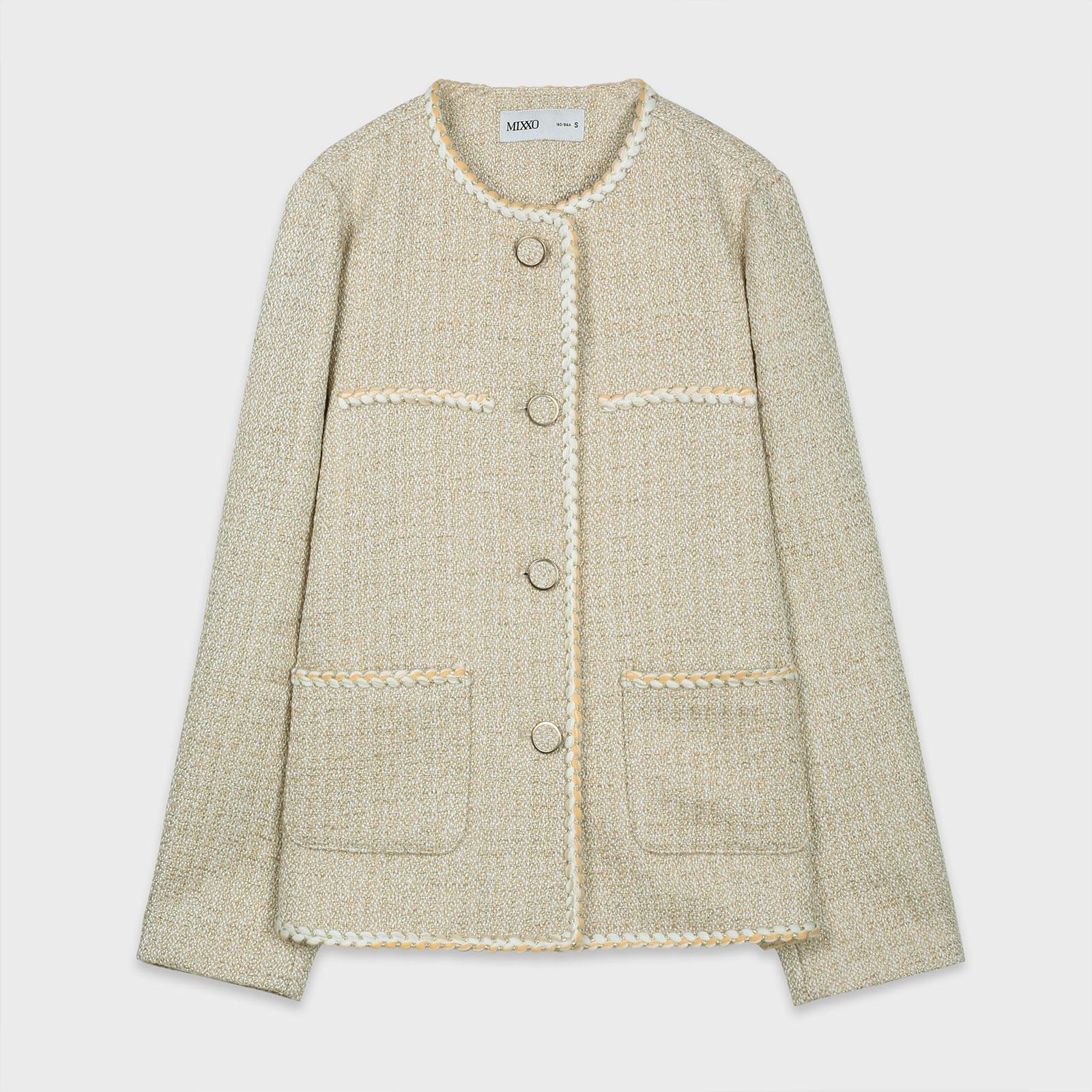 미쏘 여성용 트위드 라운드넥 자켓