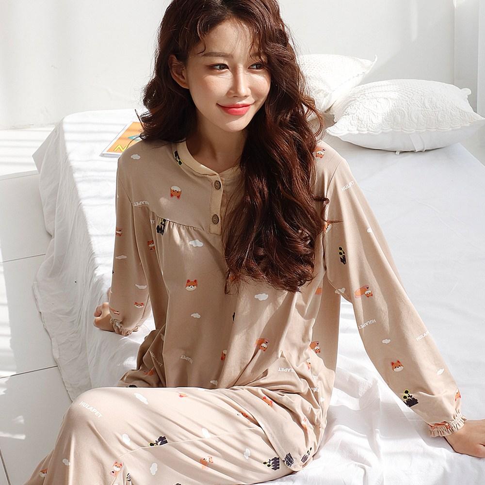 테라우드 여성용 피치기모 긴팔 잠옷 상하 세트