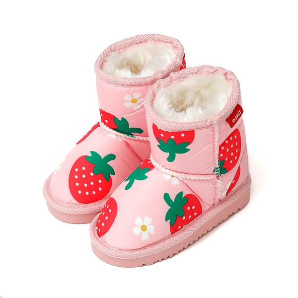 오즈키즈 여아용 따뜻한 딸기베리 털안감 부츠