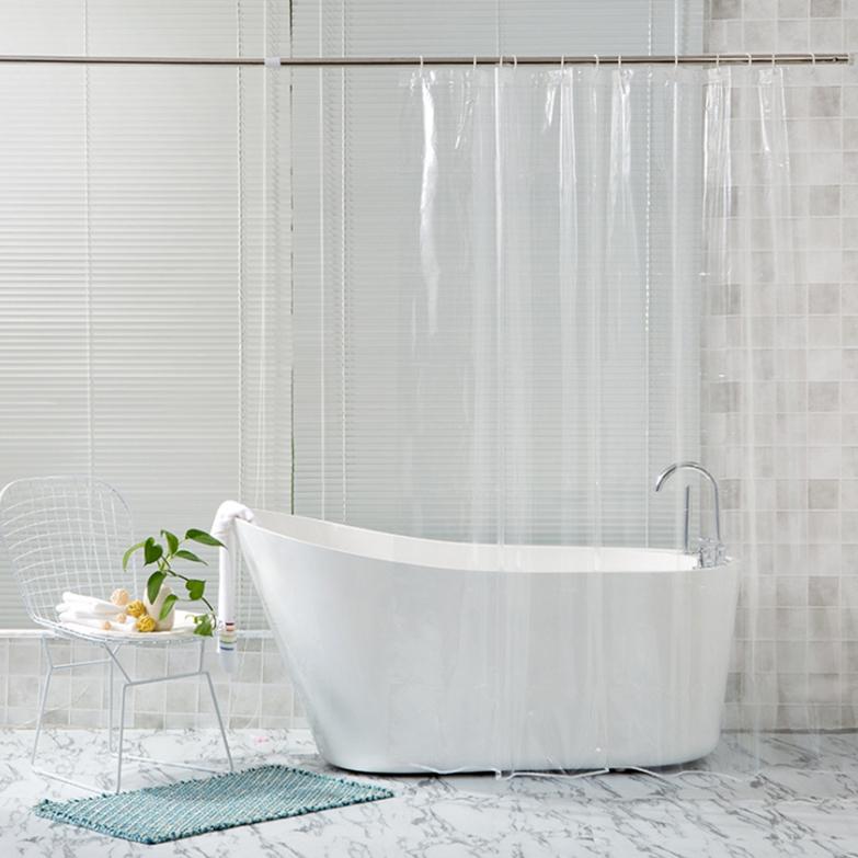 제이라이프 욕실 샤워커튼 민무늬 투명, 1개
