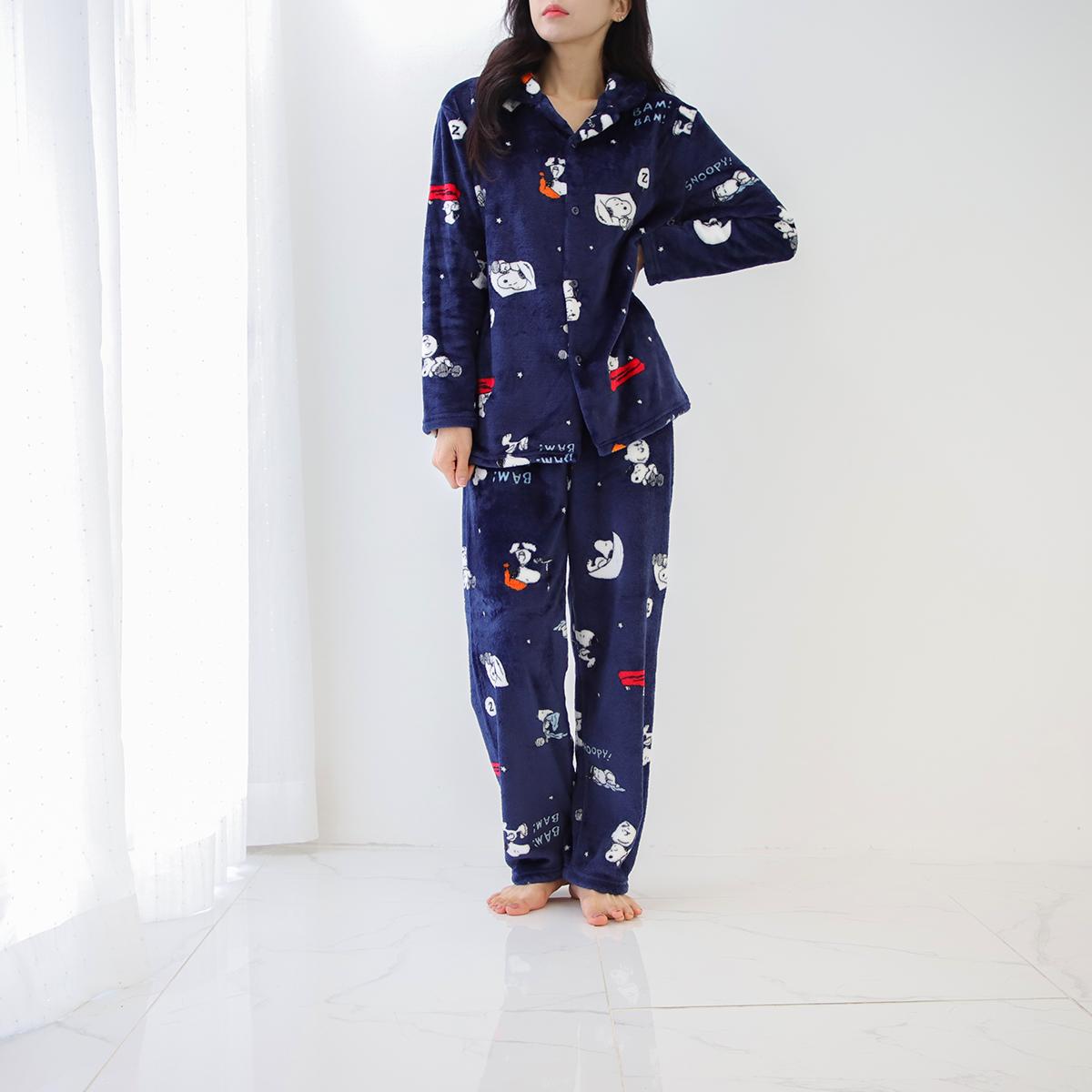 피너츠 스누피 밍크 수면 잠옷 상하의 세트