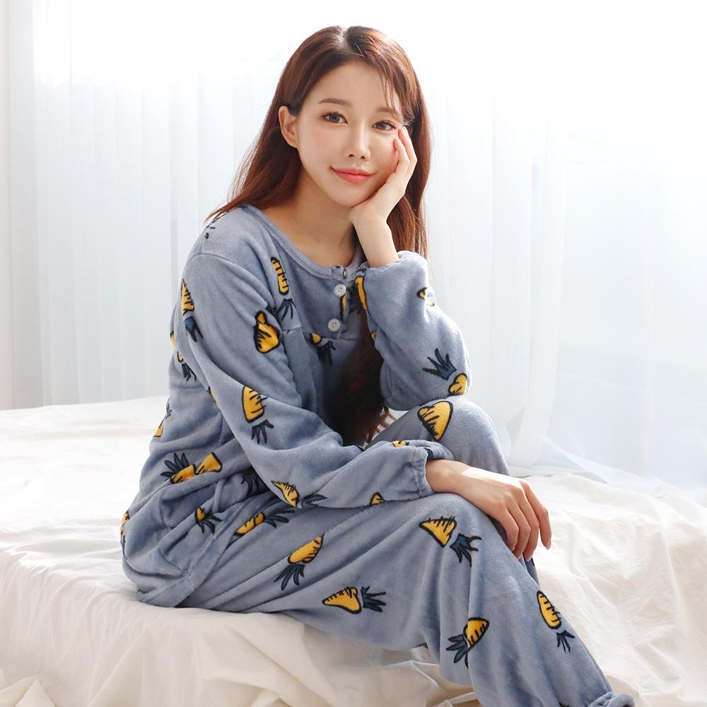 여성용 극세사 긴팔 수면잠옷 상하세트