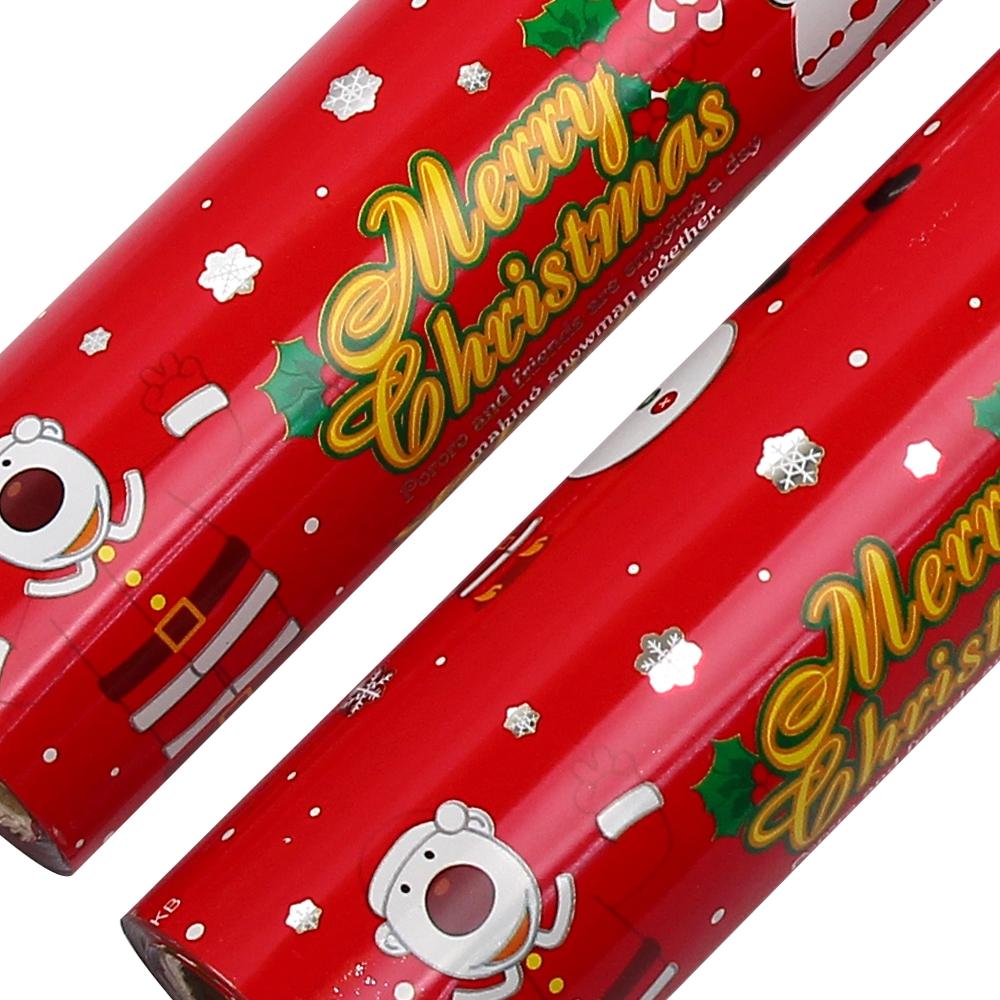 포포팬시 뽀로로 크리스마스 비닐 증착 롤 포장지 18m, 눈적색, 2개