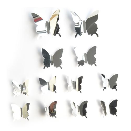 3D 나비 데코 냉장고 스티커 대 2p + 중 2p + 소 8p 세트, 미러실버