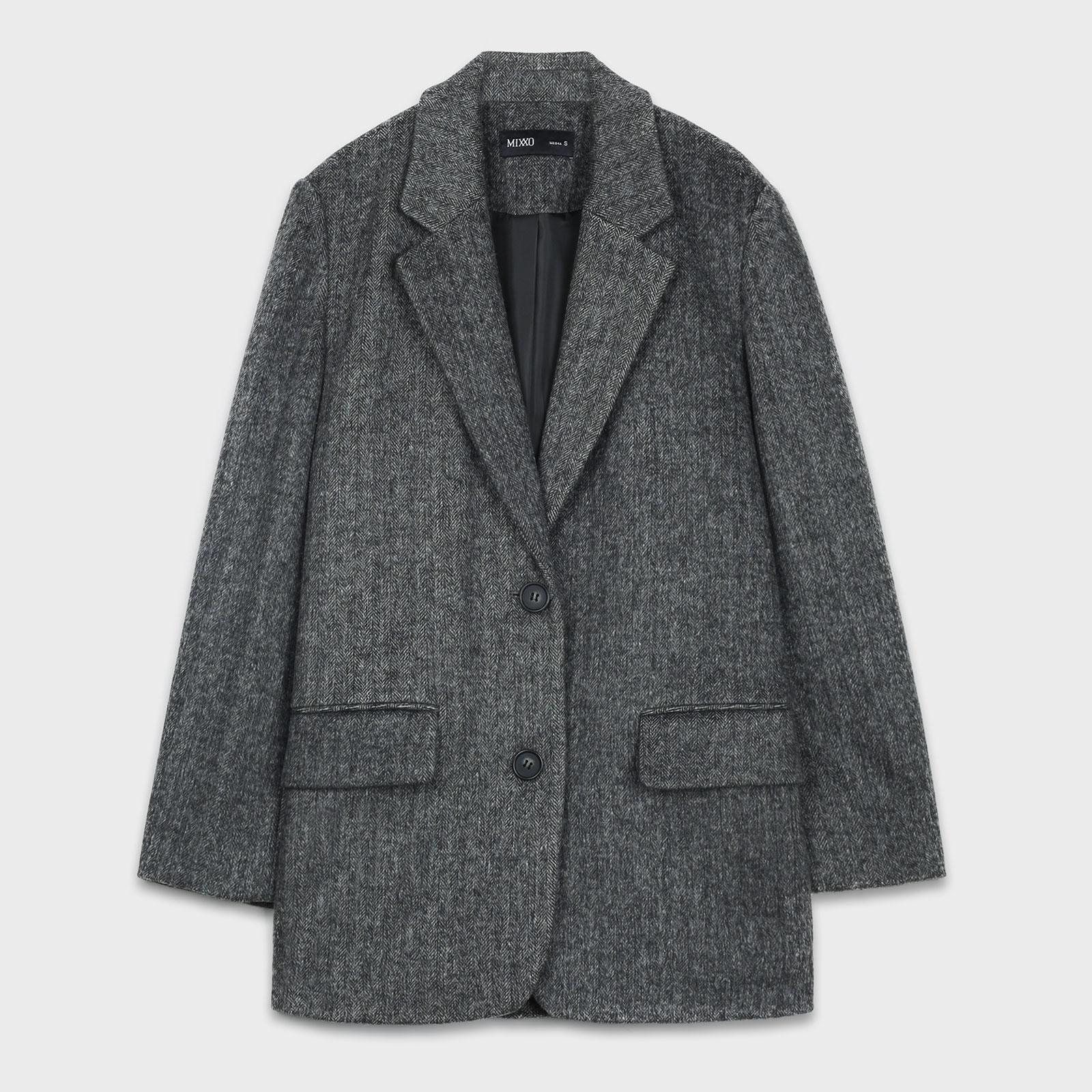 미쏘 여성용 헤링본 오버핏 싱글 자켓