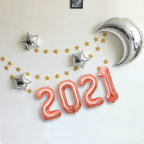 와우파티코리아 2021 달과 별 풍선세트, 로즈골드, 1세트