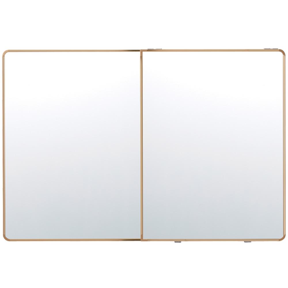프리미엄 욕실 슬라이드장 골드 1200 x 800 mm, 화이트