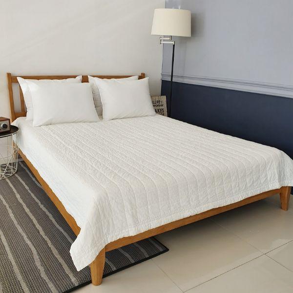 [순면 침대 패드] 데코그램 60수 순면 누빔 피그먼트 침대패드, 화이트 - 랭킹2위 (29000원)