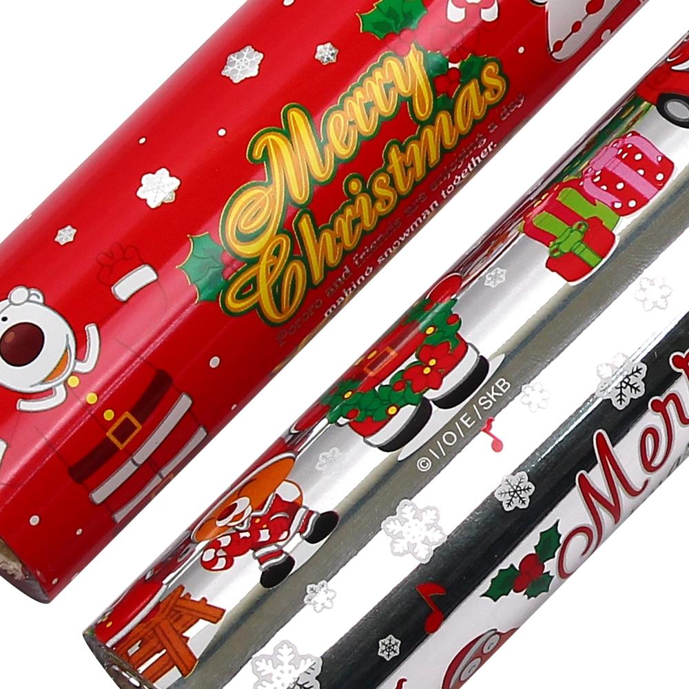 포포팬시 뽀로로 크리스마스 비닐 증착 롤 포장지 18m, 실버 + 눈적색, 2개