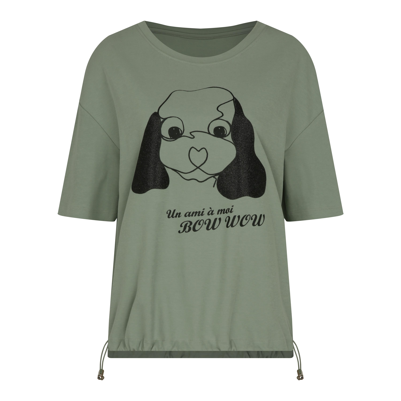 꼼빠니아 여성용 강아지 프린트 글리터 티셔츠 CABU5-WKS660