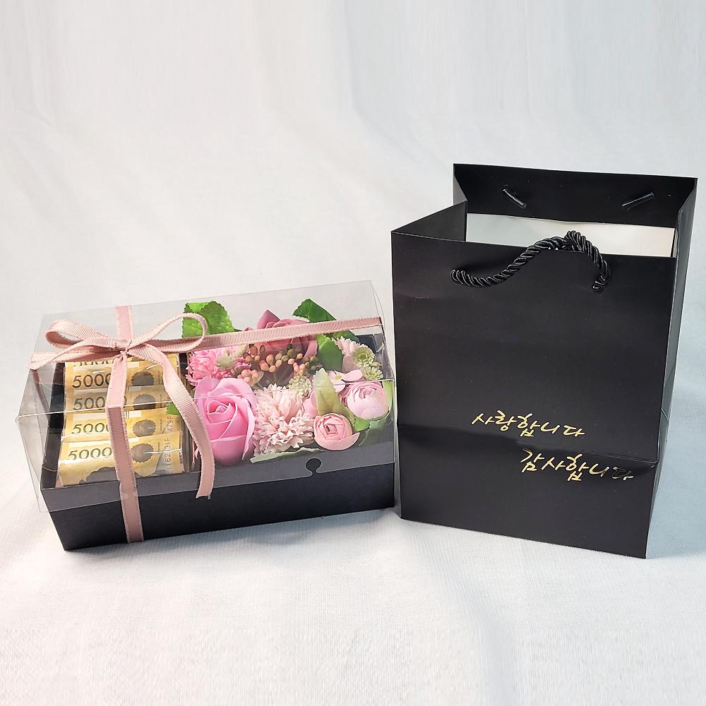 카네이션 비누꽃 부모님 용돈 박스 2p 세트, 핑크