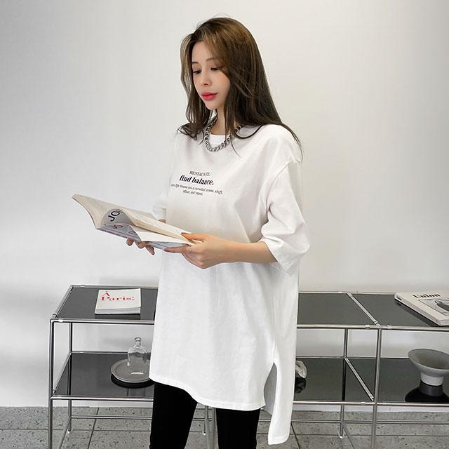 매드시스터 여성용 베인 피치 오버핏 반팔 롱 티셔츠