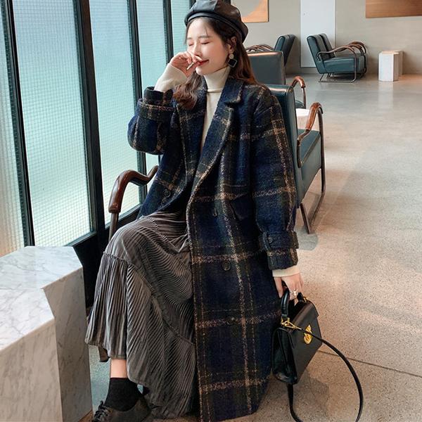 루나걸 여성용 단트 모직 체크 코트