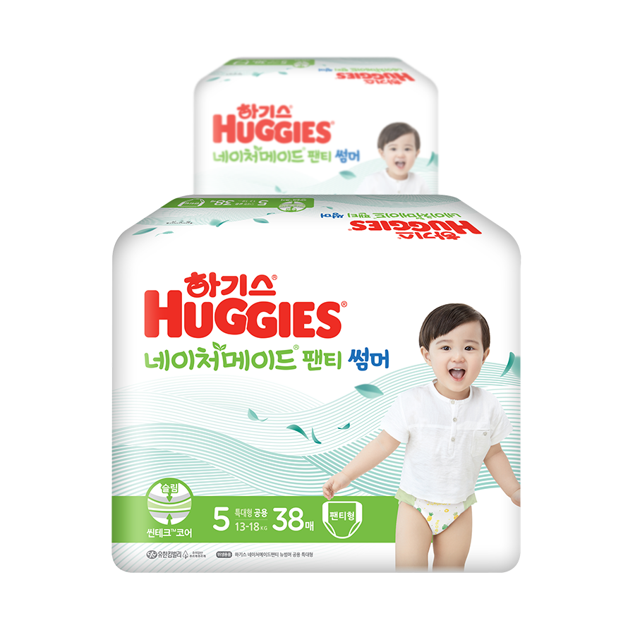 하기스 2021 네이처메이드 썸머 팬티형 기저귀 아동용 특대형 5단계(13~18kg), 76매