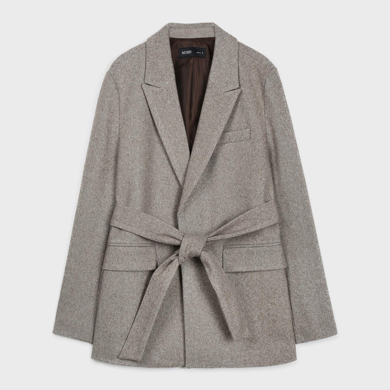 미쏘 여성용 패턴 노여밈 벨티드 자켓