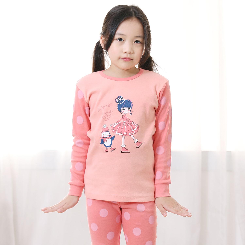 키즈라인 여아용 겨울소녀 9부 실내복 상하세트