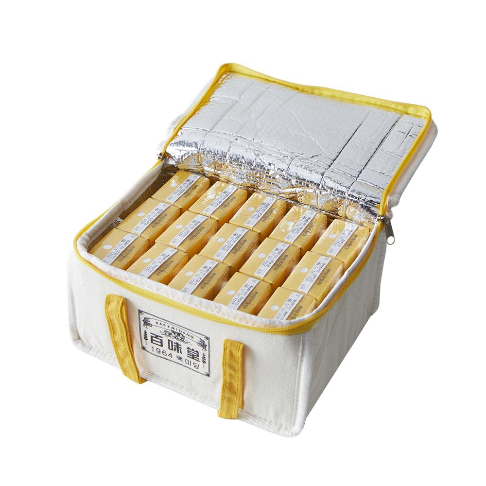 백미당 유기농 네모우유 바나나 125ml x 15p + 보냉백 세트, 1세트