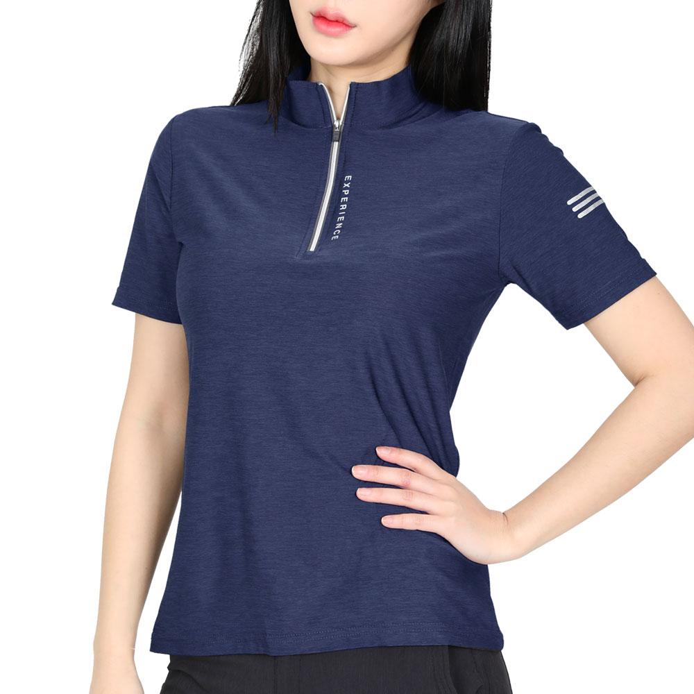스타일랑 여성용 라인라이트 스트레치 멜란지 집업 반팔 티셔츠 A1SR1LT023W