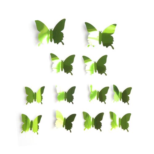 3D 나비 데코 냉장고 스티커 대 2p + 중 2p + 소 8p 세트, 미러그린