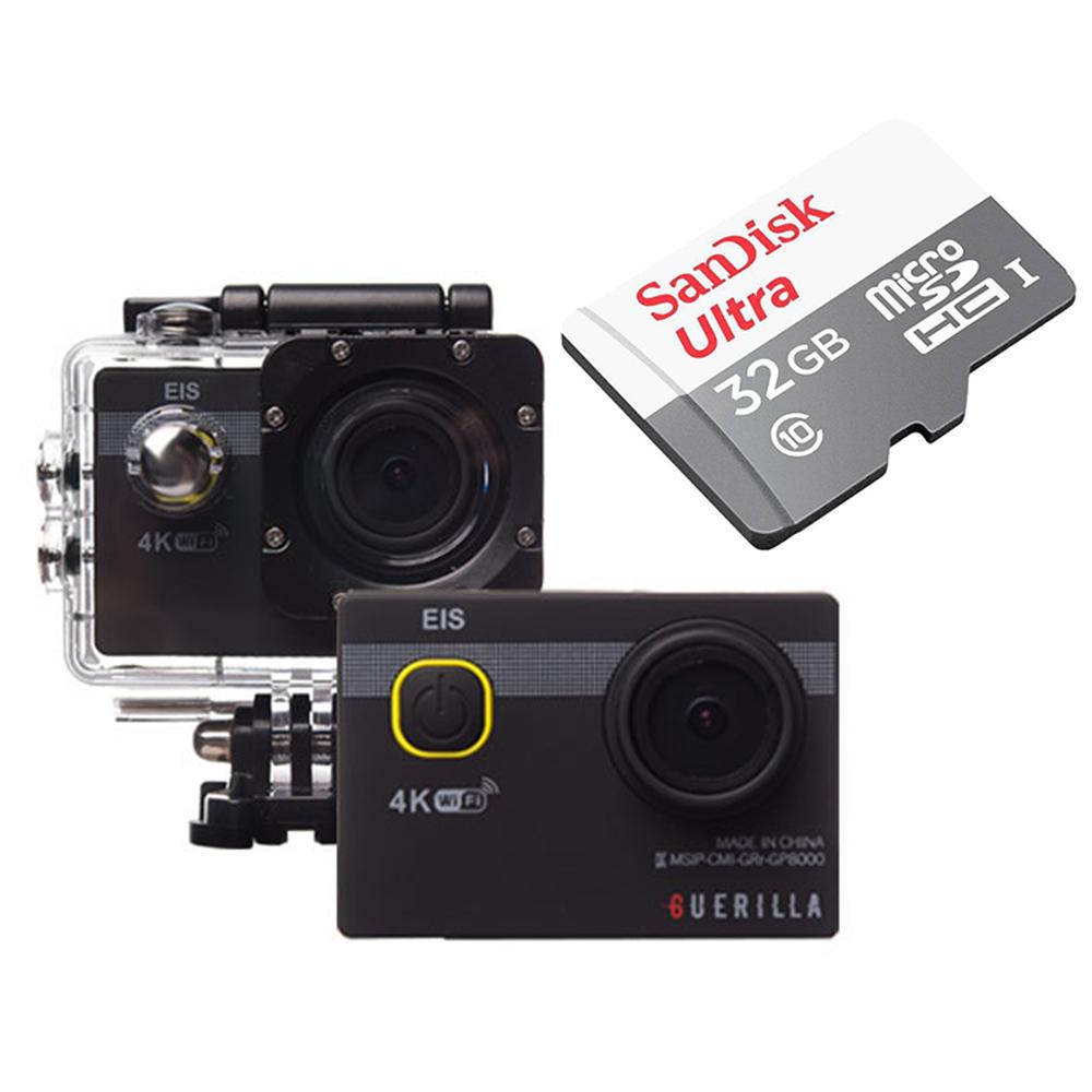 게릴라 떨림방지 액션캠 PRO8500 4K WIFI 블랙 PRO-8500 + 32GB 메모리카드