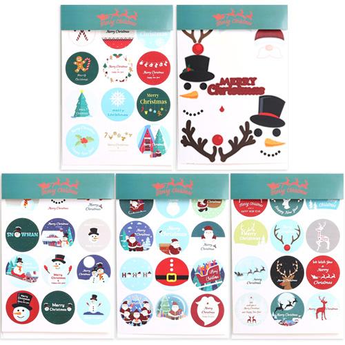 파티해 크리스마스 스티커 3p x 5종 세트, 산타, 눈사람, 루돌프, 오너먼트, 얼굴모양, 1세트