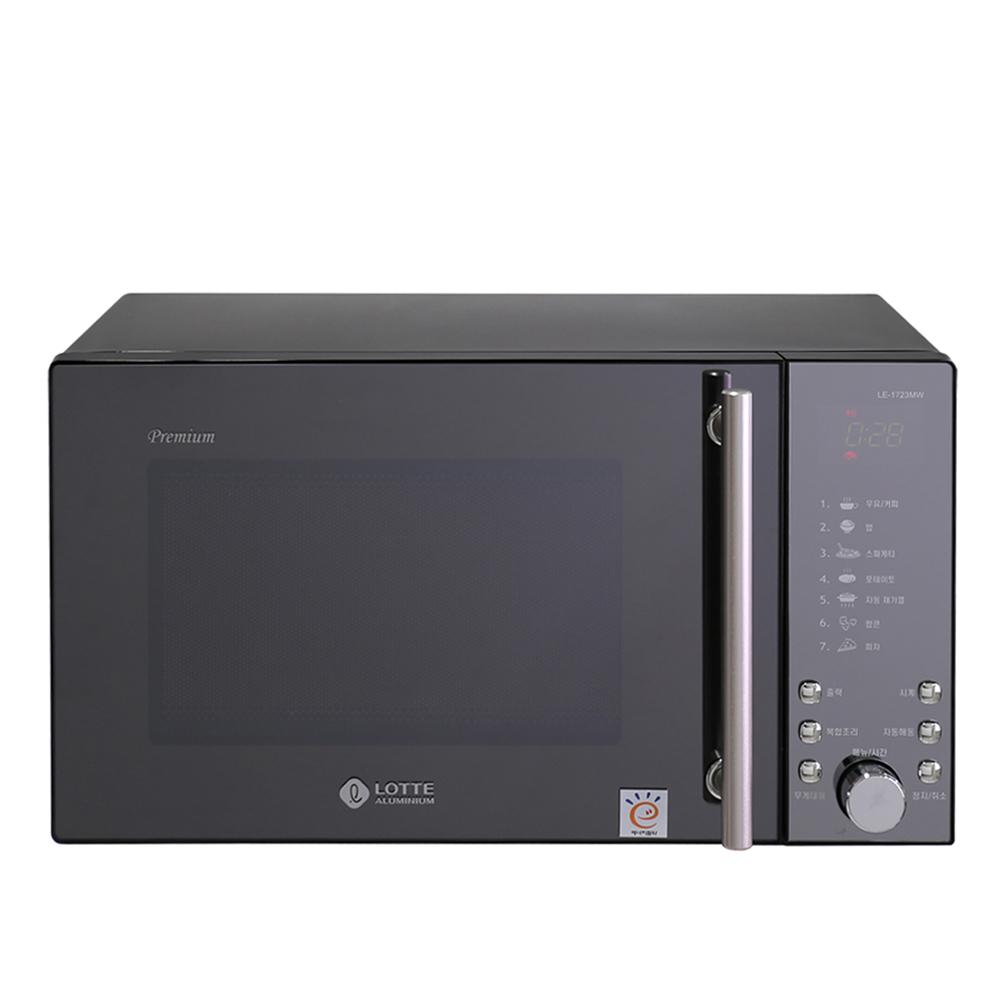 롯데알미늄 블랙 메탈 전자레인지 버튼식 23L, LE-1723MW