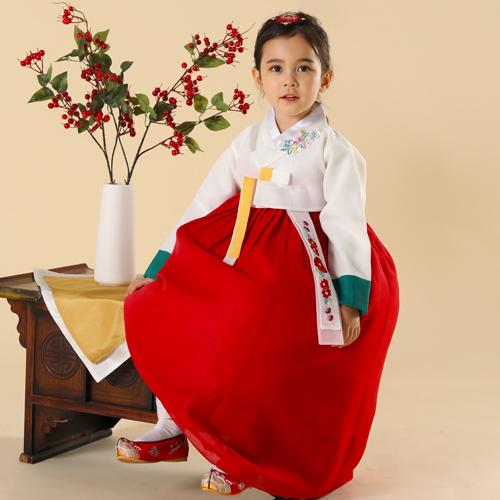 아가명주 여아용 백설 들꽃 한복 세트-11-4541443217