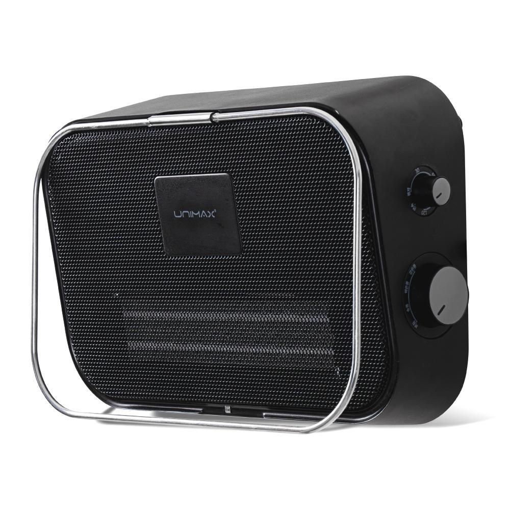 유니맥스 벽걸이형 PTC 욕실 전기 온풍기, UPT-B3205B, 블랙