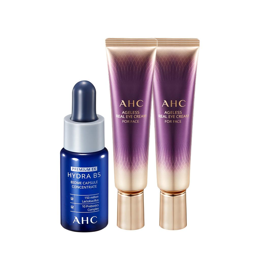 AHC 에이지리스 리얼 아이크림 포 페이스 30ml x 2p + 하이드라 B5 바이옴 앰플 15ml, 1세트