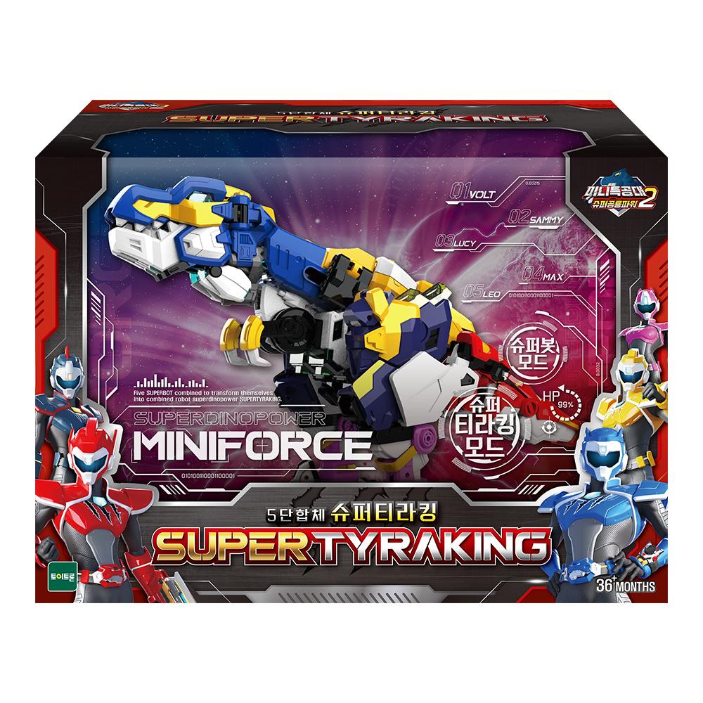 미니특공대 슈퍼공룡파워2 5단합체 슈퍼티라킹 로봇장난감, 혼합색상