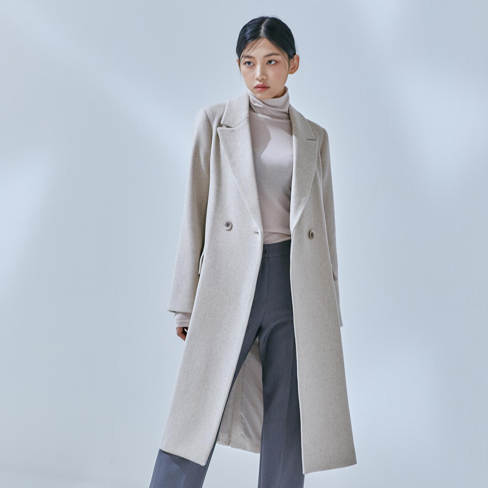 미쏘 여성용 일자핏 더블 롱 코트형 자켓